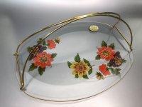 Chance Glass チャンスガラス ダリア ガラスプレート (大サイズ、金属ハンドル付き)未使用