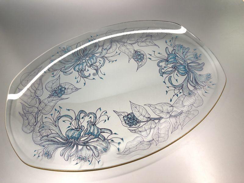 画像1: Chance Glass  チャンスガラス ハニーサックル ガラスプレート (大サイズ)