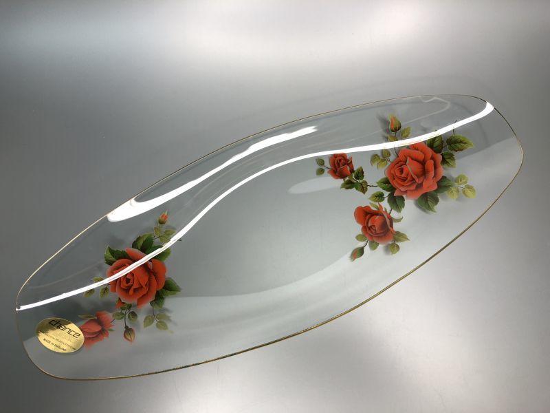 画像1: Chance Glass チャンスガラス レッド ローズ ロングガラスプレート 未使用