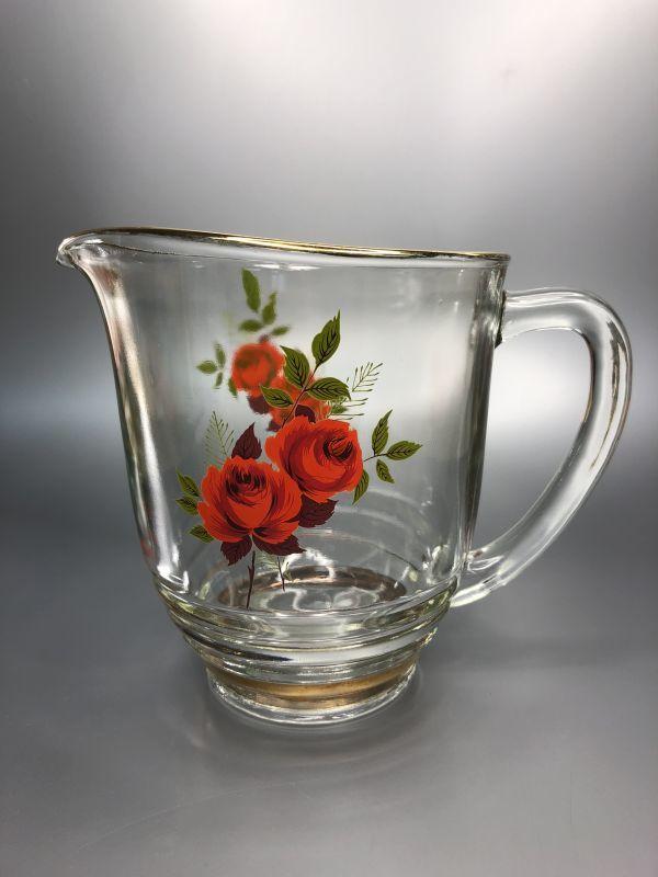 画像1: Chance Glass チャンスガラス レッド ローズ ピッチャー(レアです!) 未使用