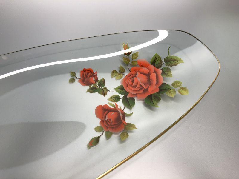 画像3: Chance Glass チャンスガラス レッド ローズ ロングガラスプレート 未使用